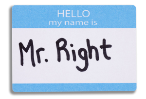 Conference badge with the name 'Mr Right' on it