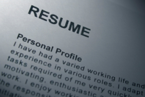 Close-up image of a resume