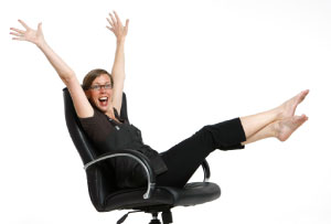 Picture of a woman excited and happy in her career